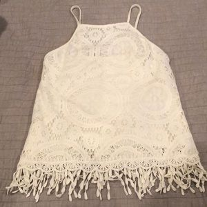 White crocheted tank top
